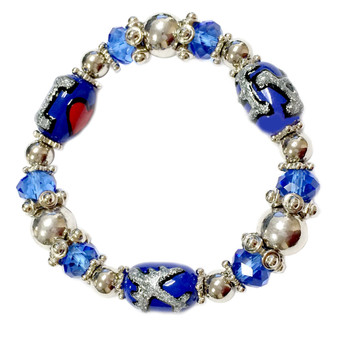 Painted I LOVE AF, Airplane Glass Beaded Stretch Bracelet (BR-2534I )