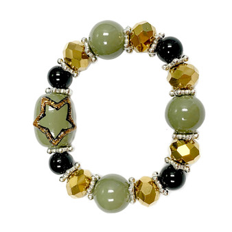Painted Kid's Army Star Glass Beaded Stretch Bracelet (BR-2534AKID)