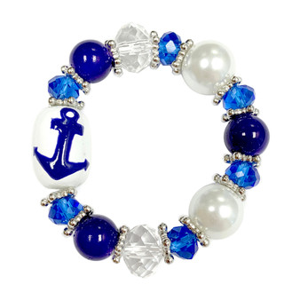 Painted Kid's Anchor Glass Beaded Stretch Bracelet (BR-2534DKID)