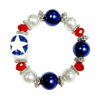 Painted Kid's Air Force Star Glass Beaded Stretch Bracelet (BR-2534GKID)