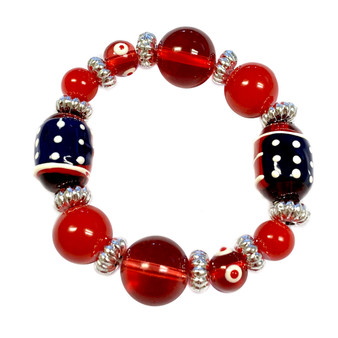 Painted Kid's USA Flag Glass Beaded Stretch Bracelet (IUP08-2KID)
