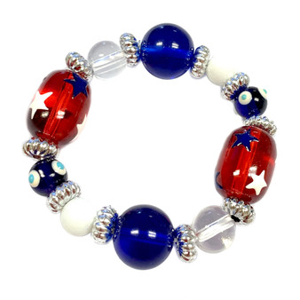 Painted Kid's USA Stars Glass Beaded Stretch Bracelet (IUP08-5KID)