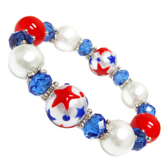 Painted USA Stars Glass Beaded Stretch Bracelet (IUP69-3)