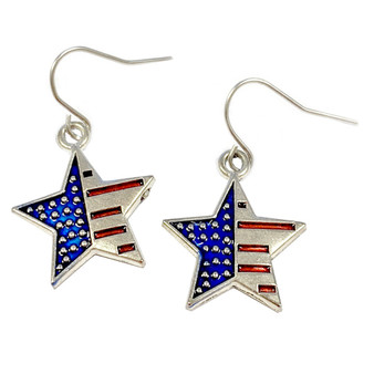 Painted Metallic USA Star Flag Earrings (E-327A)