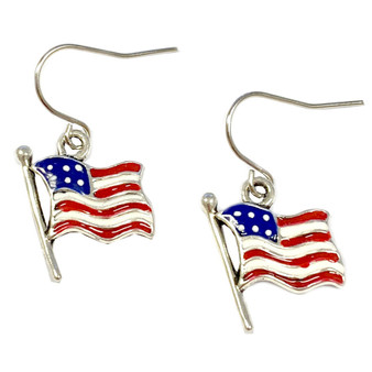 Painted Metallic USA Flag Earrings (E-327B)