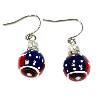 Painted USA Flag Dainty Glass Beads Earrings (E-286A)