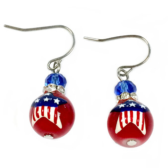 Painted USA Star Flag Dainty Glass Beads Earrings (E-286B)