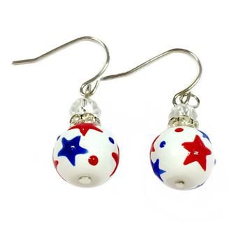 Painted Red/Blue Stars on 10mm Small Glass Beads.