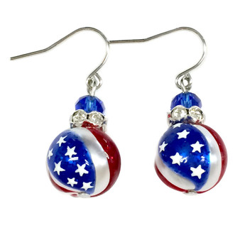 Fine Painted USA Flag Glass & Crystal Beaded Earrings (E-309B)