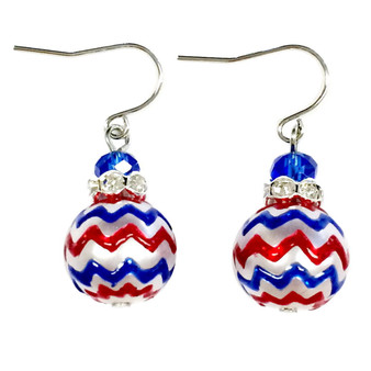Fine Painted Red/White/Blue Chevron Pattern Glass & Crystal Beaded Earrings (E-309D)