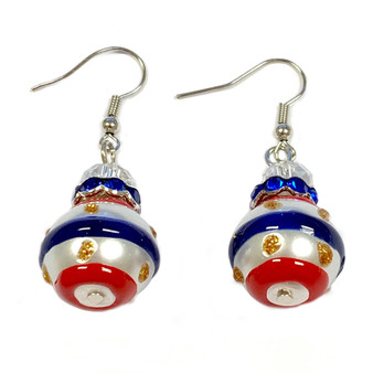 Painted USA Strips Glass Beaded Earrings (E-75)