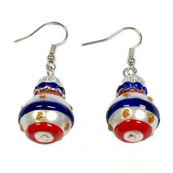 Painted USA Strips Glass Beaded Earrings (E-75)