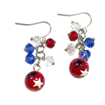 Painted USA Stars Dainty Glass Beaded Earrings (E-261A)