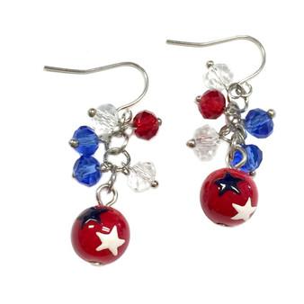 Painted USA Stars Dainty Glass Beaded Earrings (E-261A)