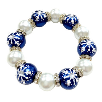 Painted Snowflake Pearl Blue Glass & Rhinestone Beaded Stretch Bracelet (BR-2347-BLUE)