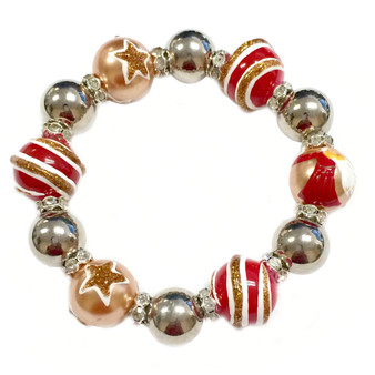 Painted Angel & Star Pearl Gold Glass & Rhinestone Beaded Stretch Bracelet (BR-2530F)