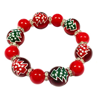 Painted Christmas Red/Green Tree Red Glass & Rhinestone Beaded Stretch Bracelet (BR-2530L)