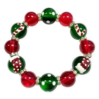 Painted Christmas Candy Cane & Stocking Red/Green Glass & Rhinestone Beaded Stretch Bracelet (BR-2687)