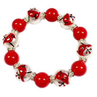 Painted Red Cardinal Glass & Rhinestone Beaded Stretch Bracelet (BR-2734)