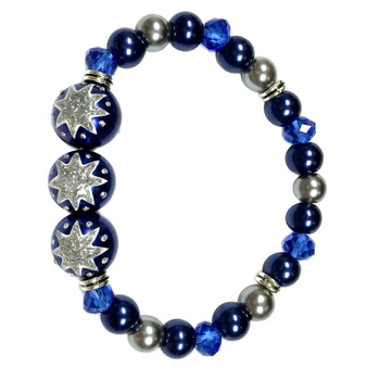 Painted Christmas Snowflake Blue Glass Beaded Stretch Bracelet (BR-2805F)
