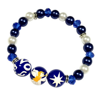 Painted Angel, North Star, NOEL Blue Glass Beaded Stretch Bracelet (BR-2806B)