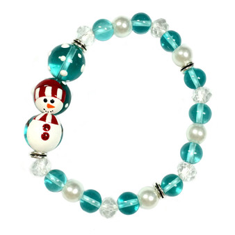 Painted Snowman Light Blue Glass Beaded Stretch Bracelet (BR-2806D)