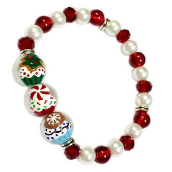 Painted Christmas Tree, Peppermint Candy, Cookie Cupcakes Glass Beaded Stretch Bracelet (BR-2806E)
