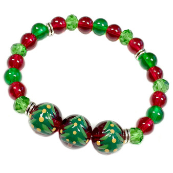 Painted Christmas Tree Glass Beaded Stretch Bracelet (BR-2806G)