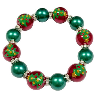 Painted Christmas Festival Tree & Rhinestone Beaded Stretch Bracelet (BR-2940B)