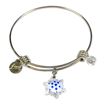 Painted Christmas Snowflake Swarovski Crystal Adjustable Bangle (BR-2945)