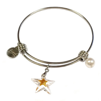 Painted Gold Star Swarovski Crystal Adjustable Bangle (BR-2946A)