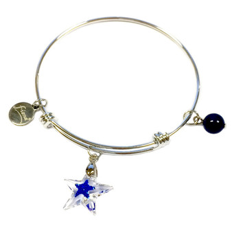 Painted Blue Star Swarovski Crystal Adjustable Bangle (BR-2946B)