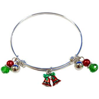 Painted Christmas Jingle Bell Adjustable Bangle (BR-2991A)