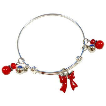 Painted Christmas Red Ribbon Adjustable Bangle (BR-2991D)