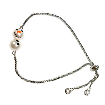 Delicate Painted Snowman Swarovski Crystal Bolo Style Bracelet (BR-3082)