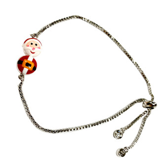 Delicate Painted Santa Claus Swarovski Crystal Bolo Style Bracelet (BR-3083)
