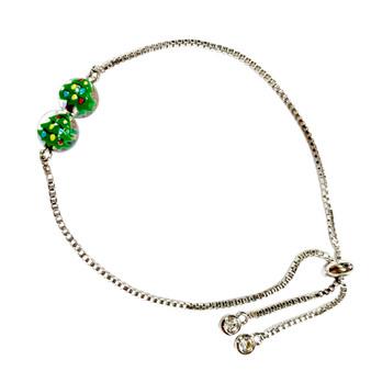 Delicate Painted Christmas Festival Tree Swarovski Crystal Bolo Style Bracelet (BR-3084)