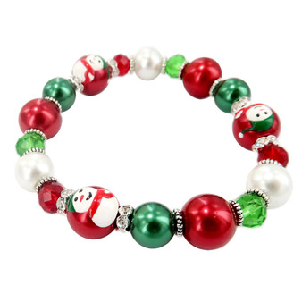 Painted Christmas Snowman Dainty Glass & Crystal Beaded Stretch Bracelet (BR-3092A)