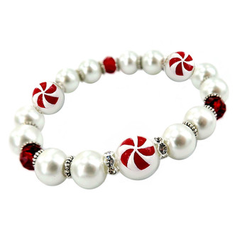 Painted Christmas Peppermint Candy Dainty Glass & Crystal Beaded Stretch Bracelet (BR-3092B)