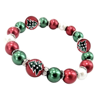 Painted Christmas Tree Dainty Glass & Crystal Beaded Stretch Bracelet (BR-3092C)