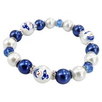 Painted Christmas Blue Snowman Dainty Glass & Crystal Beaded Stretch Bracelet (BR-3092E)