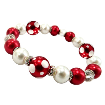 Painted Christmas Polka Dots Dainty Glass & Crystal Beaded Stretch Bracelet (BR-3092F)