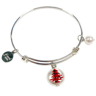 Painted Buffalo Plaid Christmas Tree Swarovski Crystal Adjustable Bangle (BR-3097A)