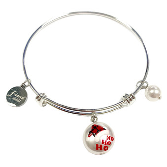 Painted Buffalo Plaid Christmas Santa Hat Swarovski Crystal Adjustable Bangle (BR-3097B)
