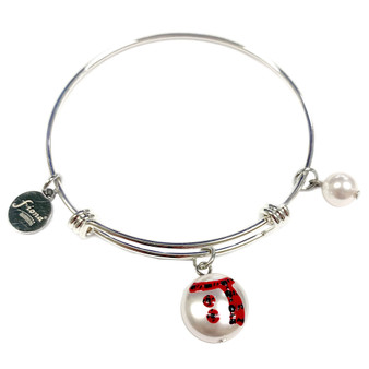 Painted Buffalo Plaid Christmas Snowman & Scarf Swarovski Crystal Adjustable Bangle (BR-3097C)