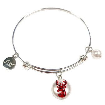 Painted Buffalo Plaid Christmas Reindeer Swarovski  Crystal Adjustable Bangle (BR-3097D)