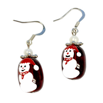 Painted Snowman Glass Beads Earrings (E-02)
