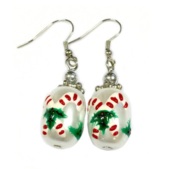 Painted Christmas Candy Canes & Mistletoe Glass Beads Earrings (E-60)
