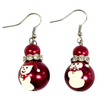 Painted Snowman Pearl Red Glass Beads Earrings (E-118)