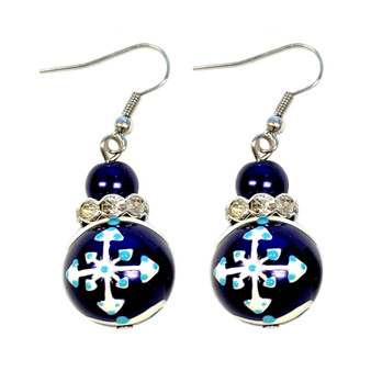 Painted Snowflake Pearl Blue Glass Beads Earrings (E-120)